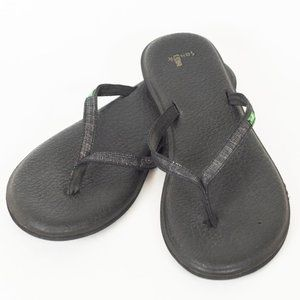 Sanuk Black/Silver Yoga Chaka Sandals Flip Flops